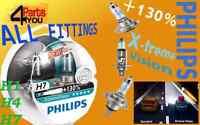 PHILIPS +130% X-TREME VISION CAR HEADLIGHT BULBS H1 H4 H7 TWIN PACK XTREAM 3700K