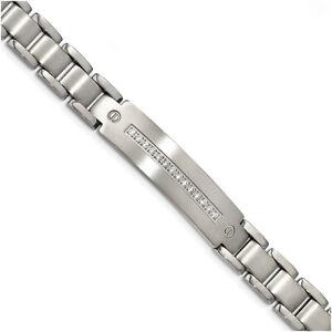 """Chisel Titanium Brushed and Polished w/ CZ 8.75 inch Bracelet TBB173-8.75"""""""