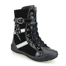 Girls Kids Childrens Infants Zip Up School Casual Ankle Biker Boots Shoes Size