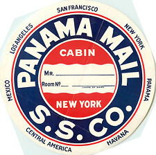 The Panama Mail Steamship Co. - Huge Old Luggage label, c. 1930