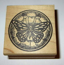 Butterfly Rubber Stamp Magenta Brand Circle Rare Hard To Find Made in Canada