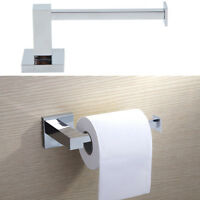 Wall Mounted Toilet Roll Holder Chrome Tissue Paper Stand Bathroom Bar Square PT