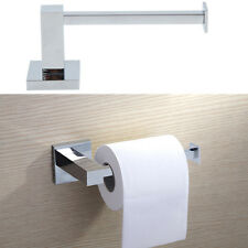 Silver Square Bathroom Toilet Roll Holder Wall Mounted