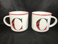 Pair of BEE & WILLOW HOME Ceramic 16oz Plaid Tartan Monogram C Coffee Mugs NEW