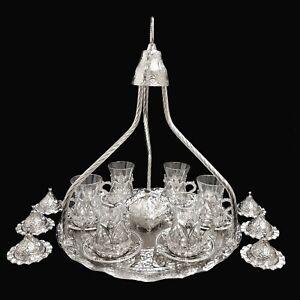 Turkish Ottoman Silver Metal Glass Tea Coffee Tray Full Set Turkish Delight Pot