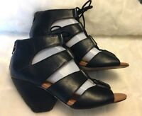 Corso Como Women's Size 8.5  Black Leather Hell lace up Sandals