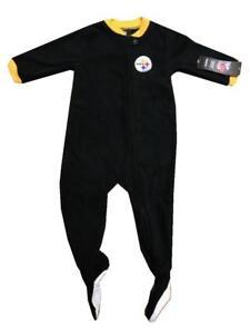 New Infant Baby Boy NFL Pittsburgh Steelers Black Sleeper Jumper Romper Pajamas