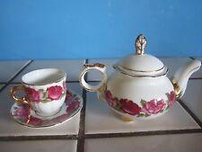 Victoria's Garden Child's Doll Miniature  Fine China Teapot & Tea Cup Set