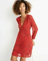New Madewell Women Hazelwood Red Floral Wrap Front A Line Mini Dress Size 12