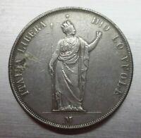 5 LIRE 1848 GOVERNO DI LOMBARDIA, ITALIA LIBERA, Condizioni in B con saldatura