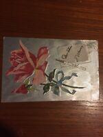 Postcard, 1909 Pink Rose Silver Embossed, Flowers, Shiny, Pretty, Vintage J02