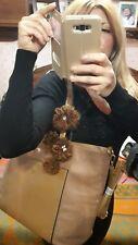 borsa donna beige shopper shopping Lana pon pon tortora fiori marrone bauletto