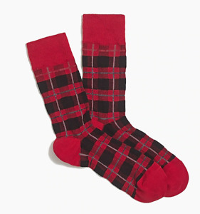 Mens Socks Red and Black Plaid One Pair Crew Length Authentic J Crew Buy 2+ Save