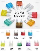 24 MINI CAR FUSE SET AUTO BLADE FUSE SET 5 7.5 10 15 20 25 30 40 AMP CAR FUSE