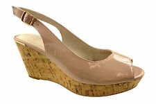 LADIES NEXT FAUX SUEDE LEATHER LINED COMFORT PEEP TOE WEDGE SANDALS NUDE UK 3-9