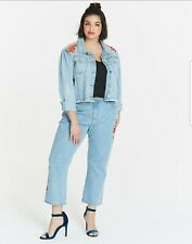 Neon Rose Floral Embroidered Denim Jeans Size 26 New