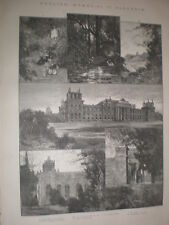 Blenheim Palace 1885 old prints and article