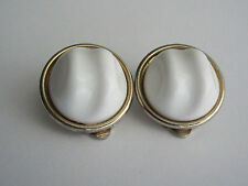 Vintage LISNER Signed Gold Tone Baroque White Lucite Button Clip Back Earrings