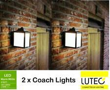 2 x Lutec Zoe Outdoor Wall Coach Lights 8W LED Warm White 3000K Black IP44