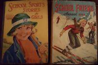 School Friend Annual 1958 & School Sports Stories for Girls 1930's