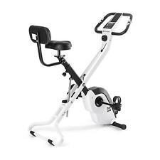 Vélo d'appartement pliable en X dossier pulsomètre inertie 4kg 8 niveaux blanc