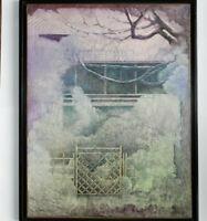 PAYSAGE JAPON Technique Mixte ENCRE 1989 Signé LOEB 54x69cm Toile encadrée