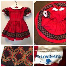 Vintage 1950s Girls Red Dress Little Miss Heidi Full Skirt 50s Valentine's Day
