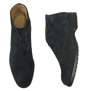 Bally Men's Robik Boots Size 11.5 (10.5 UK) Navy Blue Suede Desert Ankle