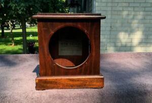 Antique Seth Thomas Mahogany Cabinet Shelf Mantle Clock Case Label Rear Door