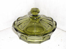 Fostoria Olive Green COIN GLASS Lidded Round Candy Dish Box