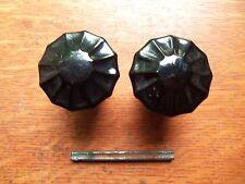 Two Antique Black Glass & Brass Doorknobs Door Knobs c1920 - Rare