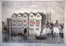 Antique 1876 'Old London' Engraved Print - 'Cold Harbour, Upper Thames Street'