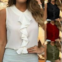 Women Stylish Ladies Vest Tops Ruffle Sleeveless Casual Tank Top Blouse OL Shirt