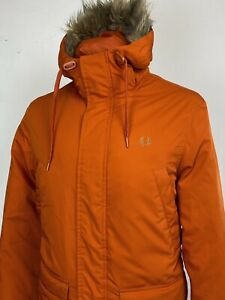 Fred Perry   Hooded Arctic Down Parka M L (Orange) Scooter Causals Terraces Mod