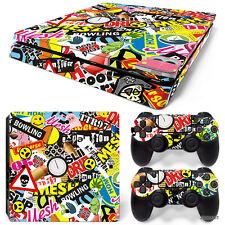 PS4 Slim Playstation 4 Console Skin Decal Sticker Graffiti Custom Design Set