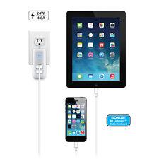 Naztech N422 AC Lightning MFI White N422-12414 Dual USB Travel Charger -NICE!!!