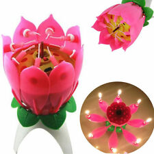 Musical Candle Lotus Flower Blossom Candles Light Happy Birthday Party Gift LJ