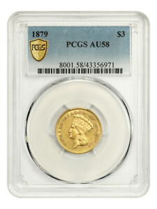 1879 $3 PCGS AU58 - Low Mintage Issue - 3 Princess Gold Coin - Low Mintage Issue