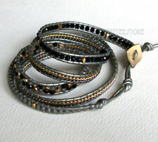 Nakamol 5 Wrap up Crystal & Mixed Metal Beads with Chain & Leather Bracelet NEW