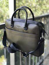 NEW MICHAEL KORS Mens Harrison Leather Briefcase Bag Zip Pocket OLIVE / BLACK