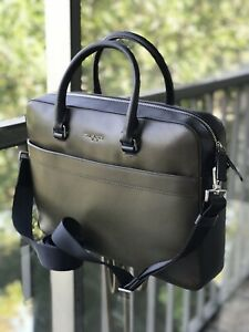 NEW MICHAEL KORS Mens Harrison Leather Briefcase Bag Zip Pocket OLIVE / BLACK