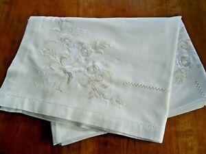 "Large Embroidered Cream Linen Tablecloth (Irish) 52"" x 70"""