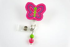 Pink Butterfly - Retractable ID Name Nurse Badge Holder Reel RN Lanyard Clip Tag