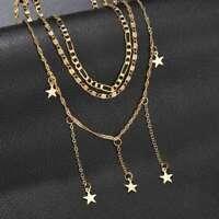 Women's Fashion Star Pendant Necklace Clavicle Chain Choker Jewelry