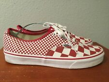 Vans Authentic Mens Mix Checker Chili Pepper Red White Canvas shoes Size 10