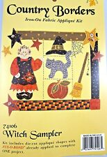 Halloween WITCH Fabric Applique Kit Cat Broom Hat Pumpkin~ What's New SAMPLER