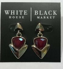Trident Shaped Gold Drop Earrings-$30-Nwt! White House Black Market Gorgeous Red