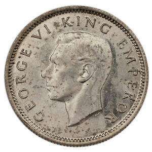 1943 New Zealand 6 Pence Uncirculated Condition KM #8 Silver Coin