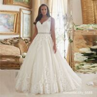 2018 New Lace V Neck A-Line Zipper Wedding Dress Bridal Gown Plus Size UK 18--30