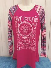 Women's Shirt by Self Esteem. Size Large.  Live Life Free.  Red